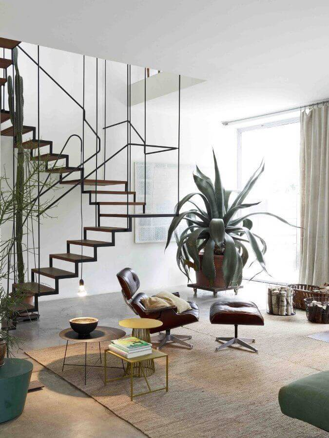 Steel Stairs Big Plants And Natural Tones
